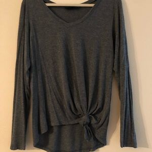long sleeved asymmetrical tee w/ knot at bottom